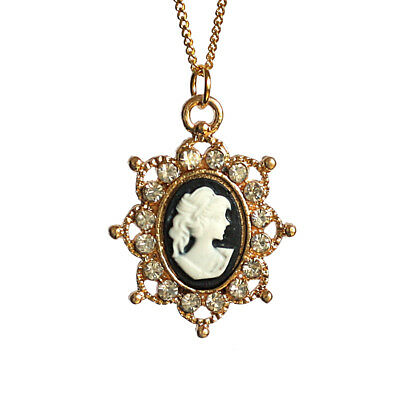 Cameo Lady Charm Pendant Necklace with 17inch Gold Plated Fine Chain