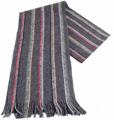 8e679e7674798 Bassin and Brown Mens Seeler Striped Wool Scarf - Grey/Red/Beige