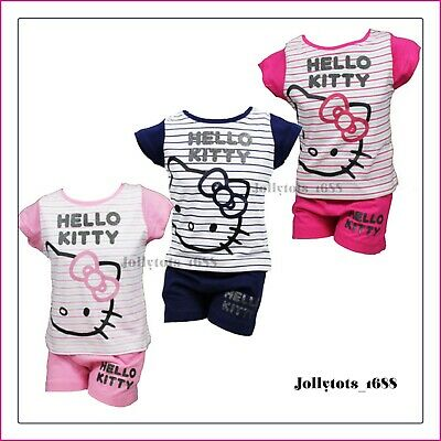 Girls Hello Kitty Top & Shorts Set Ages 2-4 Years Character Clothing Pink Blue