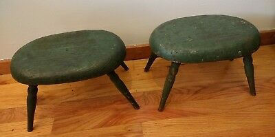 ANTIQUE EARLY 19TH c 1800s PR CONNECTICUT COUNTRY WINDSOR STOOLS OLD PAINT AAFA