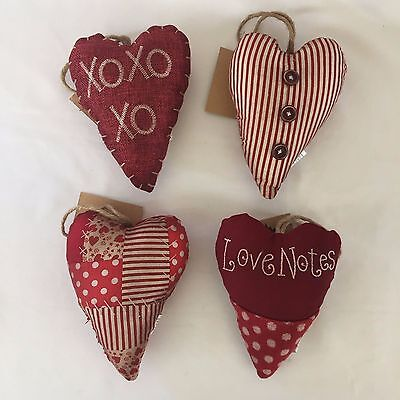 Set 4 Quilt Heart Ornaments Primitive Rustic Antique Red White Valentines Day