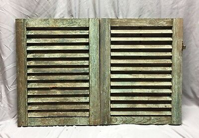 Small Pair Antique House Window Wood Louvered Shutters 19X24 Shabby Vtg 438-18C