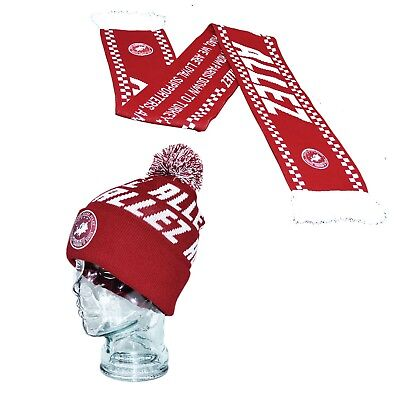 Liverpool Allez Song Gift Set Red 2 Sided Knitted Scarf & Bobble Hat Woven Patch