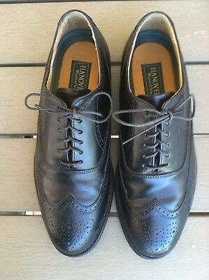 Hanover Size 7 Medium Black Leather Wing Tip Shoes Masterflex Soles Vguc Look!