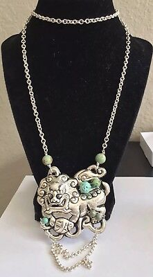 Carved Silver Chinese Foo  Dog And Turquoise Vintage Necklace Jewelry Lot Shou