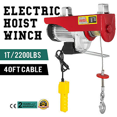 2200 LBS Electric Wire Hoist Winch Hoist Crane Lift Engine Industrial 1000KG