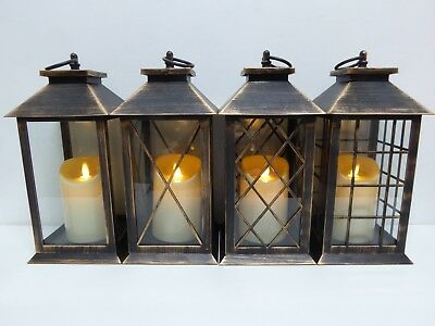 UK-Gardens 30cm Bronze Lantern with Virtual Flame Battery Operated with Timer
