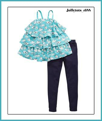 V By Very Girls Blue Swan Tiered Top & Jegging Set BNWT Ages 11-14 Years rrp £31