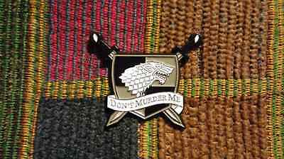 Dead Head Dire Wolf Don't Murder Me Family Crest Shield Enamel Lapel Hat Pin