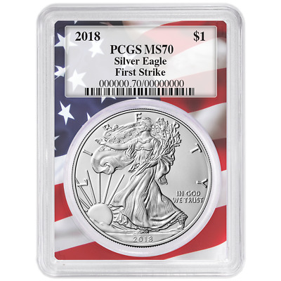 2018 $1 American Silver Eagle PCGS MS70 First Strike Flag Frame