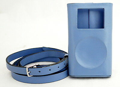 AUTHENTIC Hermes PARIS Logos iPod Case Shoulder Strap Leather Light Blue
