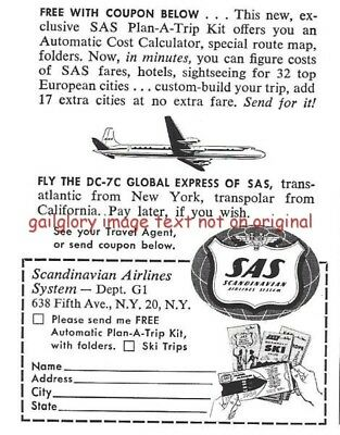 1958 SAS Scandanavian Airlines Vintage Print Ad Fly The DC-7C Global Express s