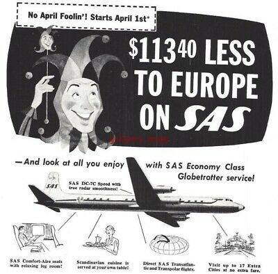 1958 Scandinavian Airlines 3 Vintage Print Ads Less To Europe, Extra Cities s