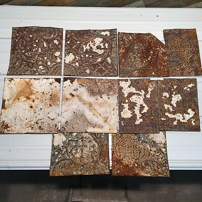 "10pc Lot 12"" and under Antique Ceiling Tin Vintage Reclaimed Salvage Art Craft"