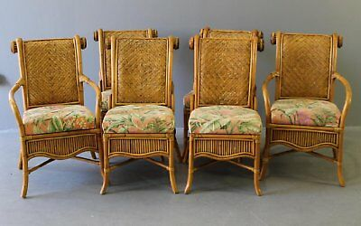 Remarkable Set Of 6 Rattan And Cane Dining Chairs Fabric Seat Ncnpc Chair Design For Home Ncnpcorg