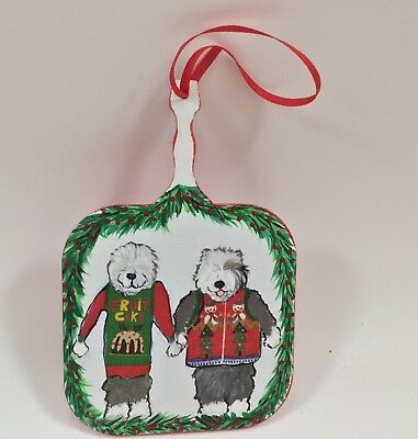 Old English sheepdogs wearing ugly Christmas sweaters HAND PAINTED mixed media