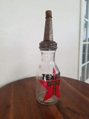 Texaco Gasoline Oil Bottle with Master Metal Spout One Quart