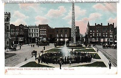 Circa 1910 ~ Pack Square, Greetings from Asheville, NC