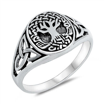 Oxidized Celtic Tree of Life Knot Ring New .925 Sterling Silver Band Sizes 5-10