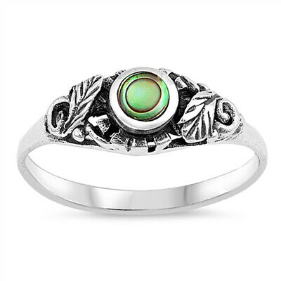 Abalone Round Leaf Oxidized Vintage Boho Ring Sterling Silver Band Sizes 4-11