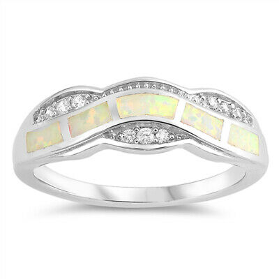 Clear CZ White Lab Opal Wave Victorian Style New Sterling Silver Ring Sizes 5-10