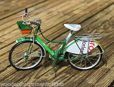 Miniature model bicycle ornament made from recycled cans model bike fairtrade