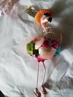 Flamingo Headed To the Beach Christmas Holiday Ornament ~ NWT