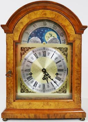 Stunning Franz Hermle Burr Walnut Triple Chime Musical Moon Phase Bracket Clock