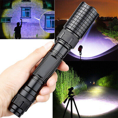 Tactical Police 90000LM T6 18650 LED Flashlight Aluminum Torch Zoomable Lamp CHL
