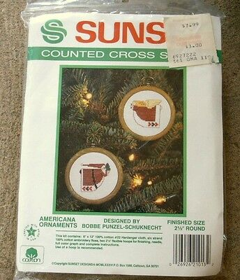 1986 SUNSET Cross Stitch AMERICANA ORNAMENTS KIT with Frames UNOPENED 1013
