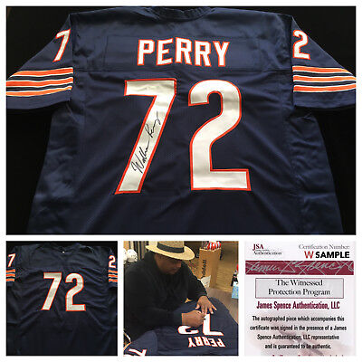 William Perry Chicago Bears Signed Autograph Blue Football Jersey JSA COA