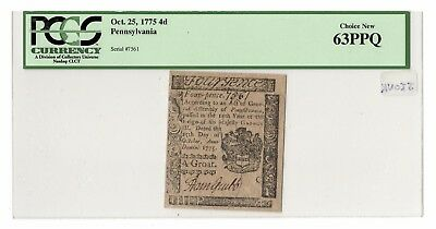 4 Pence Pennsylvania Colonial Note, Oct. 25, 1775, Hall & Sellers, PCGS 63 PPQ
