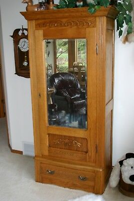 Antique Oak Armoire with Centered Mirrored Door