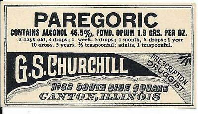 Vintage pharmacy Label - Paregoric w/1.9 grams Opium.  Canton IL