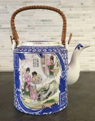 Vintage Japanese Porcelain Teapot Blue and White Geisha Design Wicker Handle