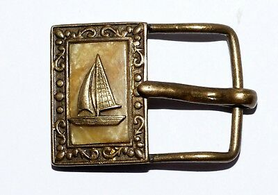 Antique Art Deco Mother Of Pearl  Brass Small  Belt Buckle Sailing Ship