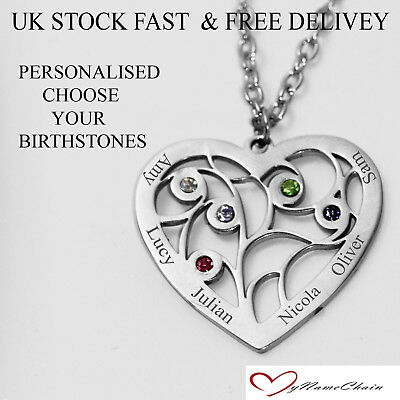 Personalised Heart 5 Birthstone Name Necklace Any Names Silver Jewellery Gift UK
