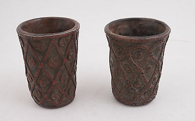 Pair of Red Clay Wood Fired Cups Vintage Antique Central Asia (D2L)