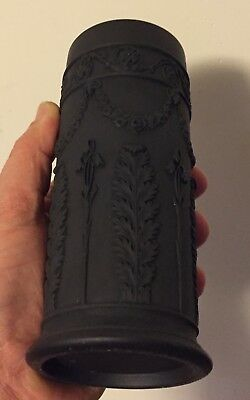 Antique 19th century Neoclassical Wedgwood Black Basalt Cylinder Spill Vase