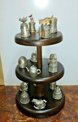 lot of 15 pewter thimbles with display stand - most have moving pieces - GISH