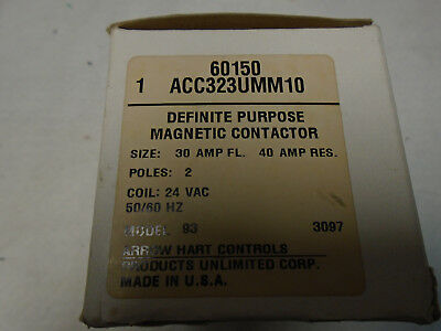 Arrow Hart Definite Purpose Magnetic Contactor Acc323Umm10 New In Box 2 Pole 30A