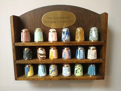 18 - agateware thimbles with original display stand