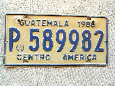 GUATEMALA License Plate Tag 1988 - Low Shipping