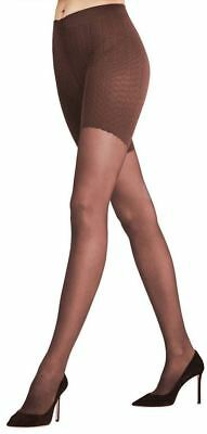Falke Cigar Brown Houndstooth Patterned 40 Dn Tights S//M