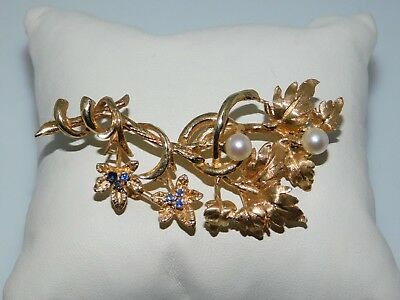 14k Yellow Gold Pearl Blue Sapphire Brooch Pin Leaf Leaves 585 Estate Find