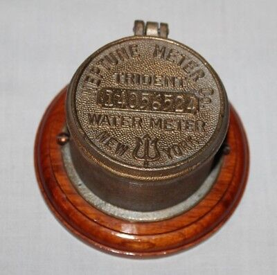 Vintage Neptune Water Co. Trident Water Meter Cap New York Box Brass Cast Iron
