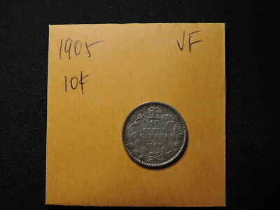 1905 10 Cent Coin Canada King Edward VII Ten Cents .925 Silver VF Grade Key Date