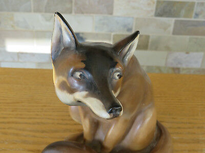 Rare Early Royal Doulton Large Flambe Brown Seated Fox HN130 C. Noke (c.1920)