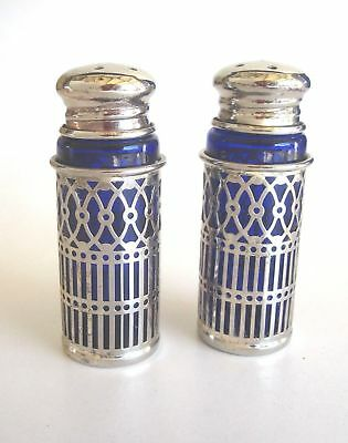 Vintage Fb Rogers Silverplate Filigreecobalt Blue Salt & Pepper Shakers
