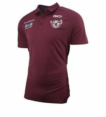 Manly Sea Eagles NRL 2019 Players ISC Maroon Polo Shirt Sizes S-5XL! 02M!